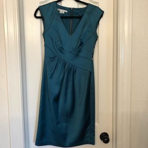 Teal Cocktail Dress with black lace back .  EUC